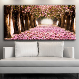 $enCountryForm.capitalKeyWord Australia - ZZ1538 modern decorative canvas art beautiful Cherry blossoms flower road canvas pictures oil art painting for livingroom prints