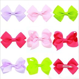 wholesale duckbill hair clips Australia - Hair Accessories Wholesale Solid Bowknot Hair Clips Satin Hairpins 8 Colors Cloth Duckbill Clips Baby Girls Barrettes