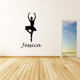 New Product For Personalised Name Ballerina Removable Wall Art Girls Kids Bedroom  Custom Vinyl Sticker Diy Decor Ballerina Stickers For Walls On Sale