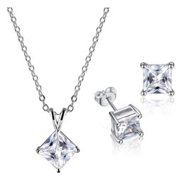 Golds Jewelry For Kids Canada - 18K White Gold Plated Top Quality Cubic Zirconia CZ Square Stud Earrings Pendant Necklace Kids Jewelry Sets for Children Girls Baby