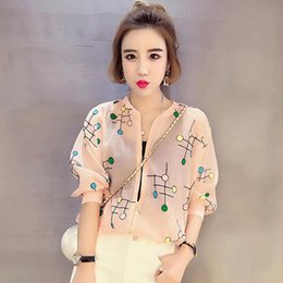 Discount no.1 sun - Wholesale- Hot 2017 Spring Summer Casual Slim Thin Brand Women Short Jacket Baseball Outwear Pink Embroidery Female Sun