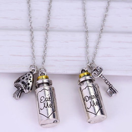 $enCountryForm.capitalKeyWord NZ - Wholesale Fairy Tale Story Alice in Wonderland Necklaces Top Grade Quality Letter Drink Me Eat Me Pendant Couple Jewelry Classic Bottle