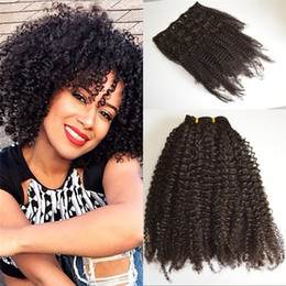 afro human hair malaysian Canada - 4B 4C Afro Kinky Curly Clip In Human Hair Extensions 7Pcs Set Full Head Malaysian Clip Ins FDSHINE