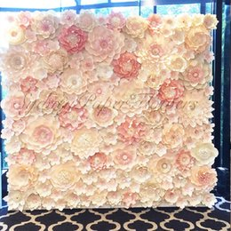 Stage Set Props NZ - 64pcs set Large Simulation Cardboard Paper Mix styles Flowers Showcase Wedding Backdrop Background Decoration Stage Props 4 Square Meters