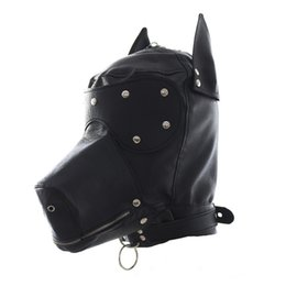 Gag De Bouche En Cuir Pas Cher-Masquerade Masks Leather Gimp Dog Puppy Hood Full Mask Mouth Gag Costume Party Mask Zipped Muzzel