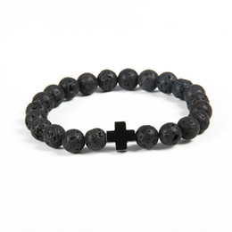 Chinese  New Design Bracelet Wholesale 10pcs lot 8mm Best Quality Lava Stone Beads with Hematite Royal Cross Jesus Bracelets manufacturers