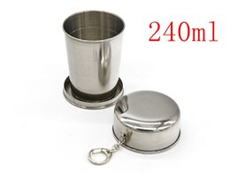 Discount hiking collapsible cup - 50pcs lot Big size 240ml Stainless Steel Folding Cup Traveling Outdoor Camping Hiking Mug Portable Collapsible Foldable
