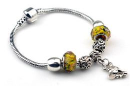 Gorgeous Bracelets with Charm Beads for Pandora Pendant Bracelets Yellow Color Bead Decoration for Men and Women European Style Jewelry