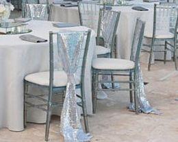 $enCountryForm.capitalKeyWord Australia - Silver Sequins Wedding Char Sashes Glitz Chiavari Chair Sashes Wedding Celebration Party Event Decoration 200*25 cm Custom Made