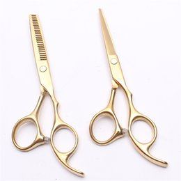 "Discount gold hair shears - 6"" 440C Customized Logo Gold Professional Human Hair Scissors Barber's Hairdressing Scissors Cutting and Thinn"