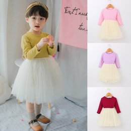 Longue Robe Tutu Robe Pas Cher-2017 Autumn Baby Girls Dress Ruffles à manches longues coton en coton Princesse Robe en dentelle Tulle Tutu Robes 13455