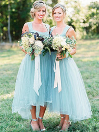 color high low wedding dresses Canada - 2019 Elegant Bridesmaid Dresses A Line High Low Tulle Square Neck Country Style Cheap Wedding Guest Dress Prom Party Gowns