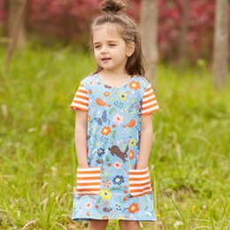 Chinese  Unicorn Baby Girl Dress with Animals Summer Short Sleeve Girl Princess Dresses Fashion Children Clothing for Kids Party Dress manufacturers
