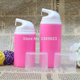 red plastic container pump 2018 - Rose Red Airless Vacuum Pump Lotion Bottle With White Head Cosmetic Containers Makeup DTY Tools 10pcs lot 50ml 80ml chea