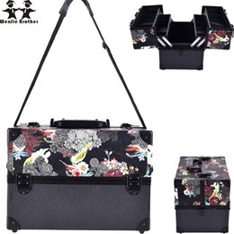 skull cosmetic bags NZ - Wenjie Brother Big Size Skull Flower Abs &Pu Make Up Box Makeup Case Beauty Case Cosmetic Bag Multi Tiers Lockable Women Jewelry Box