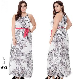 Wholesale White Bohemia Chiffon Beach Long Dress Sleeveless Floral Printing Dress Casual Dresses Plus Size L XL For Womens Party Dress