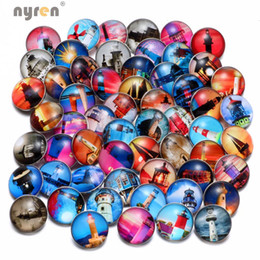$enCountryForm.capitalKeyWord UK - Wholesale 50pcs lot High Quality Lighthouse Pattern Mix Many Styles 18mm Glass Snap Button Snap Charms Fit Snaps Jewelry KZHM038