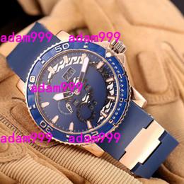 Suizo Top marca hombres de lujo reloj Rosa de Oro UN Toro Perpetual calendario MULTI-FUNCTIONS azul Dial caucho mens automático mecánico reloj en venta