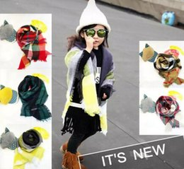 Scarf Baby NZ - Baby Plaid Scarves 100*100CM Cashmere Winter Warm Soft Scarves Kids Girls Tartan Scarf Wraps Winter Shawl Ring 12 pcs