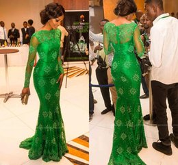 Green Fall Dresses NZ - New Arabic Green Lace Prom Dresses 2016 Long Sleeves Sheer Neck Mermaid Modest Dubai Evening Party Red Carpet Gowns Vestidos Cheap 2017