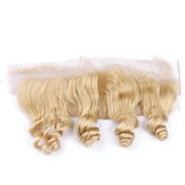 $enCountryForm.capitalKeyWord Australia - Brazilian Blonde Virgin Human Hair Lace Frontal Closure 13x4 Free Middle Three Part Loose Wave Wavy #613 Bleach Blonde Full Lace Frontals