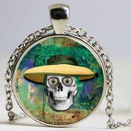 $enCountryForm.capitalKeyWord Australia - Pendant Necklace Straw Hat Skull Pattern Necklace Punk Necklaces Chain Necklace Male Vintage Jewelry Glass Souvenirs Gifts