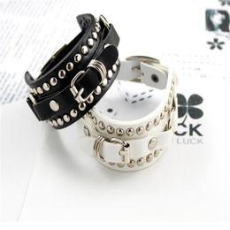 Men wide leather belt online shopping - New Fashion Womens Girl Adjustable Wide Leather Belt Clasp Rivet Bracelet Bangle Hand Chain Gift Colors for Men