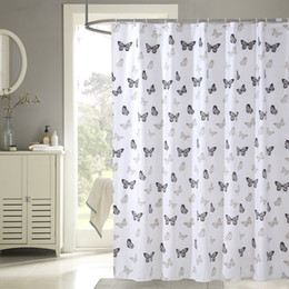 black litter butterfly shower curtain polyerster water repellant shower curtain 7comes with 12 plastic hooks