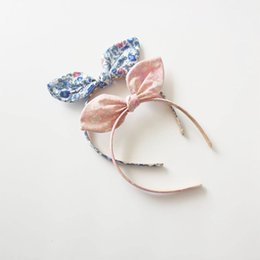 Discount girls school hair accessories - 10pcs  Lot Summer Floral Bunny Ear Hairbands For School Girls Sweet Pink Rabbit Ear Headbands Novelty Kid Party Hair Ban