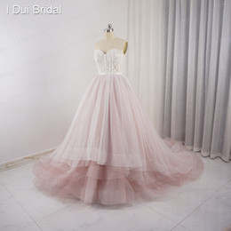 Barato Vestido Com Contas De Rosa Pálido-Sweetheart Pale Pink Wedding Dresses Tulle Layers Lace Pearl Beaded Luxo Fairy Romantic Bridal Gown Foto Real