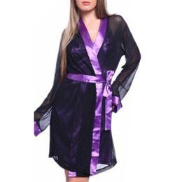 Discount hot lingerie kimono - Wholesale- Hot Sexy Lingerie M-XL Satin Lace Black Kimono Intimate Sleepwear Robe Sexy Night Gown sex products W1