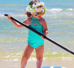 Baby Girl Swimsuit One Piece Months Canada - INS Girls Blue Bikini Swimsuit 2017 Fashion Girls One-Pieces Swimwear Baby Strap Swimsuit Princess One Piece Swim 2-7years choose free ship