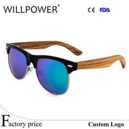 WILLPOWER venta al por mayor medio marco gafas de sol de madera mujeres  hombres gafas de madera remache diseñador de la marca gafas gafas de sol ... 668cf974bda4