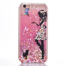 iphone girl silver case Australia - Glitter Clear PC phone Case Dynamic Liquid Sexy Girl Rigid Plastic Cover For iphone 6 7 plus Slim Quick Sand Acrylic Back Covers