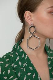 Crystal Stud Metal Australia - Women Brand Crystal Geometric Rhombus Stud earrings Fashion Rock jewelry Rhinestone Irregular Metal earrings Pendant Bijoux