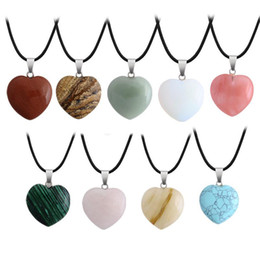 $enCountryForm.capitalKeyWord Australia - New Druzy Heart Natural Stone Pendant Necklaces Size 2.9*3cm with Stainless Steel chain Love Crystal Jewelry for women men