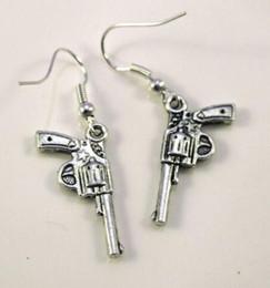 Pistol bullets online shopping - Mixed Style Pistol Gun Revolver Bullet Drop Dangle Earrings Silver Fish Ear Hook pairs Tibetan Silver Chandelier Earring Jewelry Gift