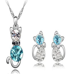 Fashion jewelry sets online shopping - DHL Austrian Crystal Pendant Jewelry Sets with Rhinestone Nice Cat Necklace And a Pair of Earrings Fashion Style High Quality