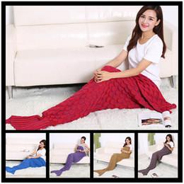Discount fishing sleeping bags - Wholesale-Kids Blankets Mermaid Tail Fish Blankets Women Sleeping Bags Bedding Warm Soft Handmade Knitted Sofa Blankets