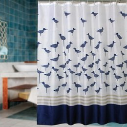 Wholesale Fabric Polyester Blue Lucky Birds Thicken Waterproof Shower Curtains Bathroom Coating