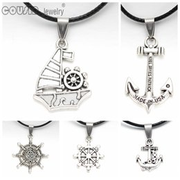 Sailing ropeS online shopping - New arrivals many styles Sailing heart owl life tree key Pendant Necklace Genuine Leather Link Chain Necklaces Trendy Jewelry