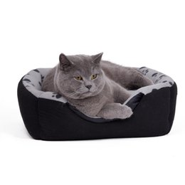 korean bedding Canada - New Arrival Fashion Dog Bed Pet Kennel Paw Pattern Soft Dog House Bed Puppy Cat Warming Winter Nest Bed M Size Pet Supplies