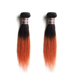 Chinese  Straight Ombre Hair Bundles 2Pcs Lot 1B Burgundy 1B 27 1B 30 Ombre Brown Brazilian Virgin Hair 50g bundle manufacturers