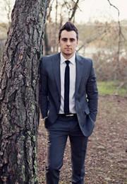 Dark Green Tie Grey Suit Australia - Blue Men Suits For Wedding Peaked Lapel Grooms Tuxedos Two Piece Mens Suits Slim Fit Groomsmen Suit Two Buttons (Jacket+Pants+Tie)