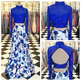Barato Imagens De Dance Dress-Vestidos de baile com mangas compridas com colarinho alto e Sexy Print Open Print Print Floral 2-Pieces Ring Dance Dress Blue Lace Top Satin Skirt