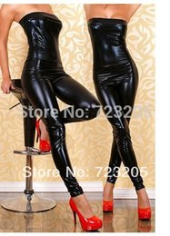 Costumes De Danse En Cuir Pas Cher-Vente en gros-Nouvelle Mode Faux Cuir Bodysuit Sexy PVC Costume Strapless Wet Look Jeu Jumpsuit Japanned Dance Vêtements Drop Shipping