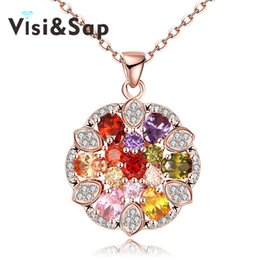 Flower Gift For Love Australia - Visisap Necklaces for girl Beautiful colorful Round cubic zirconia Pendant Flowers dazzling jewelry gifts necklace VKZCN116-B