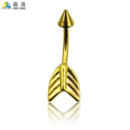 $enCountryForm.capitalKeyWord Canada - New! Top Selling High Quality Fashion Golden Plated Arrow Surgical Steel Belly Button Ring For Women Body Jewelry