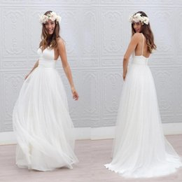 Chinese  Spaghetti Strap Wedding Dress Deep V-Neck Boho Wedding Dress A-Line Ruched Backless Bohemian Wedding Dress Covered Button 2017 New Arrival manufacturers