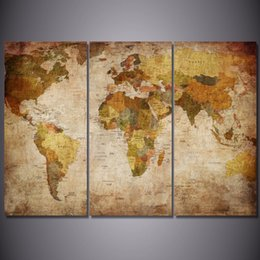 Discount world map frame 2018 map world picture frame on sale at 2018 world map frame 3pcs set hd printed vintage world map painting canvas print room decor gumiabroncs Images